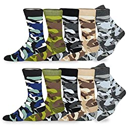 TeeHee Men\'s Cotton Crew Fashion Socks - 10 Pairs (S/51057 Camouflage)