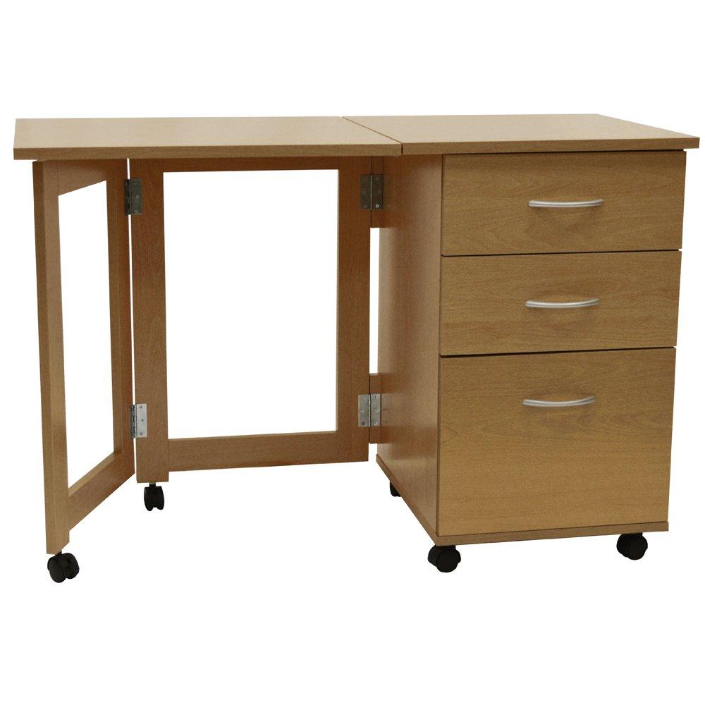 FLIPP   3 Drawer Folding Office Storage Filing Desk / Workstation   Oak       review and more information