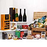 The Cheltenham Hamper - Large Luxury Wicker Hamper Basket with 40 Gourmet Food Items, Veuve Clicquot Vintage Champagne, Glenmorangie Whisky & Tumblers Gift Box, Di Maria Prosecco & Sparkling Rose Wines from Fine Food Store Gift ideas for - Mothers Day,Va