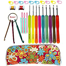 Crochet Hook Set,Ergonomic Grip Crochet Hooks Kit,With Crochet Hook Case Organizer,Comfort Grip Crochet Needles ★Yarn Needles,Stitch Markers,Knitting Row Counter,Key Chain Crochet Hooks & More!