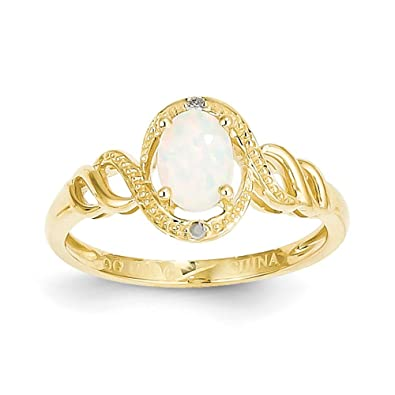 10k Gold Created Opal Rough Diamond Ring - Higher Gold Grade Than 9ct Gold