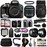 Nikon D3300 DSLR Digital Camera with 18-55mm VR II + Sigma 70-300mm Lens + 128GB Memory + 2 Batteries + Charger + LED Video Light + Backpack + Case + Filters + Auxiliary Lenses + $50 Gift Card + More!