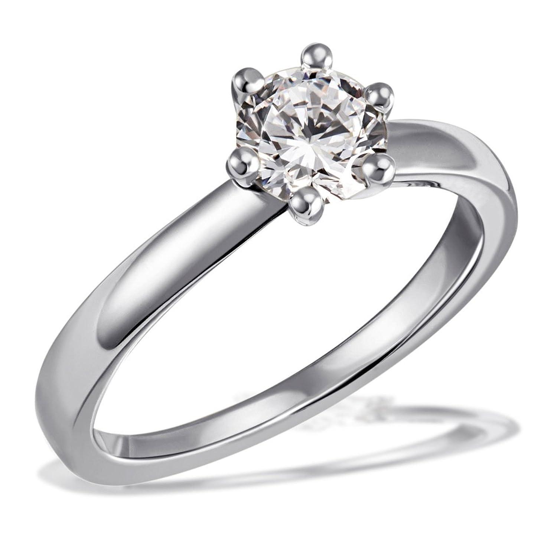 Goldmaid Damen-Ring Solitär 6er Stotzen Verlobung, Trauung, inklusiv externer Expertise Diamant (1.00 ct) weiß Brillantschliff – So R7108WG als Geschenk