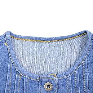 GuanCheng Mädchen-Kleid-Blau-Denim-Spitze-Blumenkleid -Druck-Partei Kinder Baumwolle Kinder Kleid Größe 4-12 Jahre