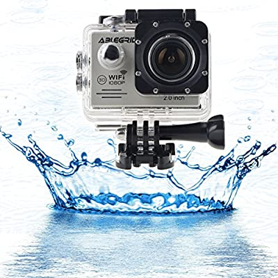"ABLEGRID® SJ5000 WIFI Novatek 96655 12MP 2.0"" LCD 1080P 170 Degree Wide Angle Sport Action Camera Waterproof Cam DV Camcorder Outdoor for Bicycle Motorcycle Diving Swimming Sliver with Free Accessories Kit"
