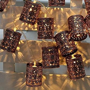 Lixada Lantern Lamp Fairy String Light 2.1M 20 LED Warm White Retro Vintage Metal Iron Hollow Cage for Party Christmas Home Room Decor Gift