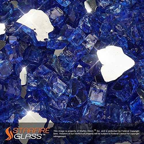 Starfire Glass® 10-Pound Fire Glass with Fireplace Glass and Fire Pit Glass, 1/2-Inch, Cobalt Blue (Reflective Supreme) (Gas Fireplace With Glass Rocks compare prices)