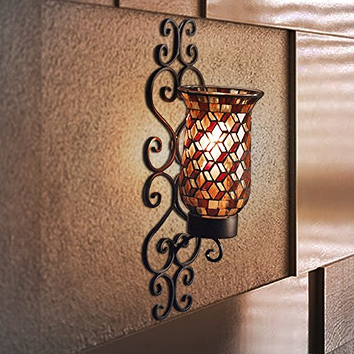 Black Metal and Mosaic Glass Wall Sconce Candle Holder With LED Candle, Decorative Scrollwork ...