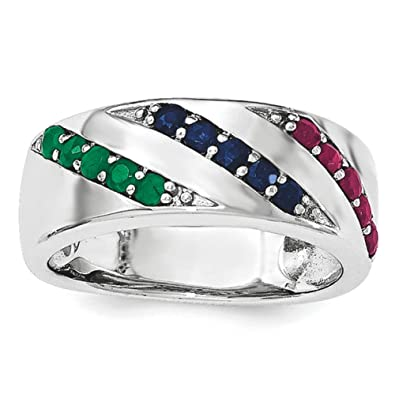 Sterling Silver Emerald Ruby and Sapphire Ring - Ring Size Options Range: L to P