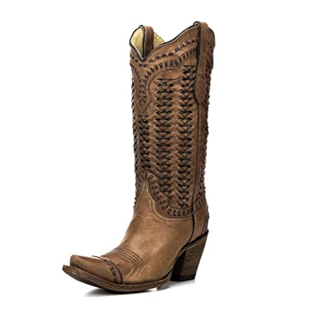 Corral Womens Sand Braided Shaft Boot