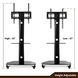 TAVR Rolling Mobile TV Cart Floor Stand with Universal Swivel Mount Wheels and Tempered Glass Shelf for 27 32 37 42 47 50 55 inch Flat Screen and Curved Televisions, Black TF9001 (Color: Black, Tamaño: 27-55'' TVs WITH WHEELS)