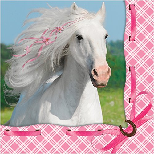 Creative Converting 16 Count Heart My Horse 3-Ply Beverage Napkins, White/Pink - 1
