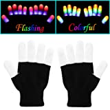 W-Plus Flashing Finger Lighting Gloves LED Colorful Rave Gloves 7 Colors Light Show, Light-up Toys (Color: Multi-color, Tamaño: Large)