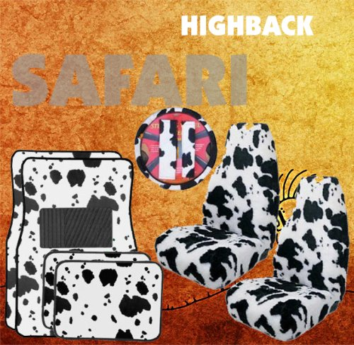 9pc safari white cow print car floor mats high back seat covers steering wheel cover. Black Bedroom Furniture Sets. Home Design Ideas