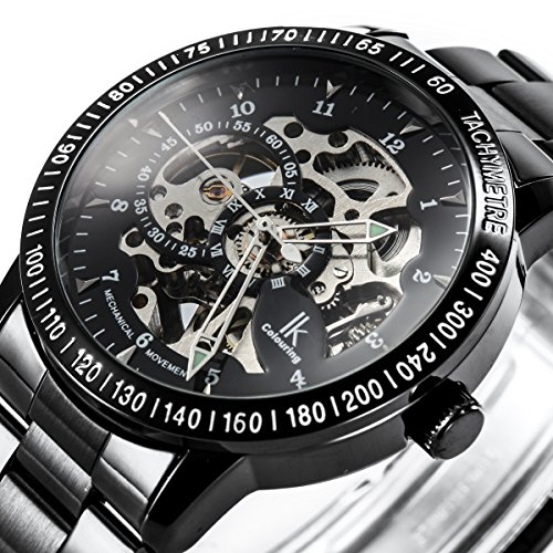 Alienwork IK mechanische Automatik Armbanduhr Skelett Automatikuhr Uhr schwarz Edelstahl 98226G-A 2