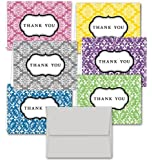 Damask Thank You Note Cards - 36 Note Cards for $9.99 in 6 Different Colors Including Light Gray Envelopes.