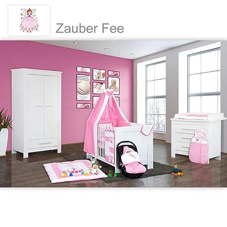 Babyzimmer Enni in weiss 19 tlg. mit 2 turigem Kl. + Textilien Zauber Fee in der Farbe Rosa