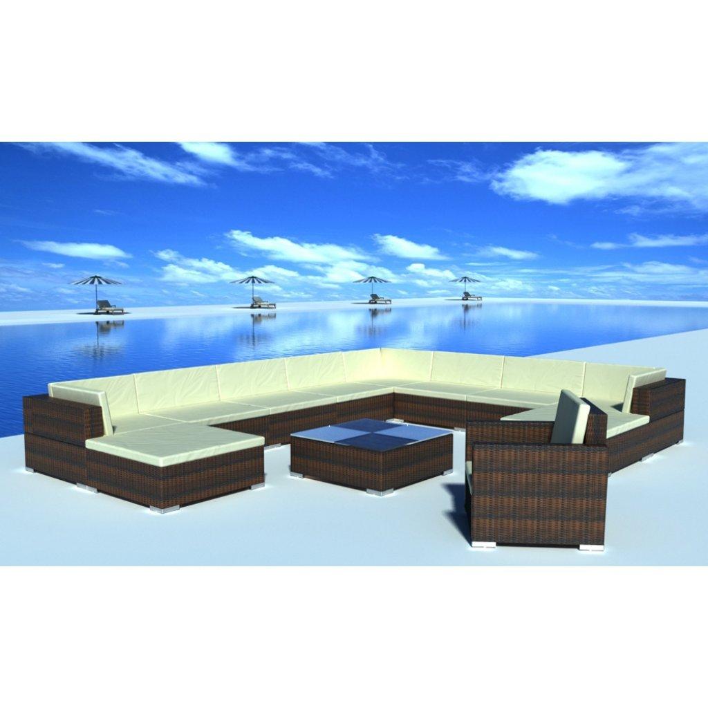 vidaXL Gartenmöbel Poly Rattan Lounge Set