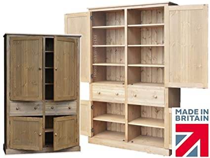 Solid Pine Storage Cupboard, 200cm Tall Handcrafted & Waxed Pantry/School/Shoe/Linen/Larder/Kitchen Storage Cabinet. Choice of Colours. No flat Packs, No assembly! (CUP2M)
