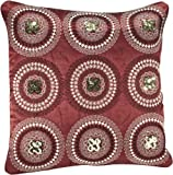 Shahenaz Home Shop Tusti Sequence 9 Circles Poly Dupion Cushion Cover - Red