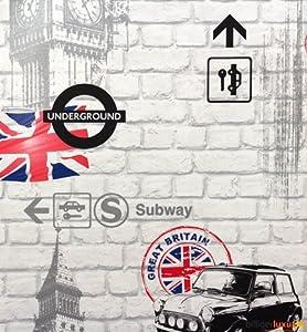 Papier peint rasch m tro londres mini drapeau anglais luxe blanc brique 23480 - Papier peint londres leroy merlin ...