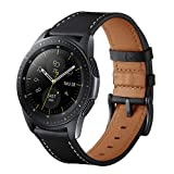 Aimtel Compatible Samsung Galaxy Watch (42mm) Bands,20mm Genuine Leather Strap Band Stainless Steel Compatible Samsung Galaxy Watch SM-R810/SM-R815 /Gear Sport/Suunto 3 Fitness Smart Watch-Black (Color: Black)