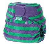 Tots Bots Bamboozle Stretch Stripey nappy, bamboo, aplix size 1 (5-18lbs) Thistle