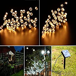 Ucharge S100-2 Solar Lights Outdoor Christmas Led Lights 39ft 100led Waterproof(Warm White)