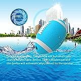 KaLaiXing  [IPX7 Waterproof Bluetooth Speakers] Baseball appearance SiRen 5 Watt Driver Portable Wireless Speaker for Outdoor/Shower with Built-in Microphone & Sucker–blue