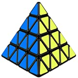 D-FantiX Shengshou 4x4 Pyramid Cube, Pyramid Speed Cube 4x4x4 Magic Cube Puzzle Toy Black (Color: Black)