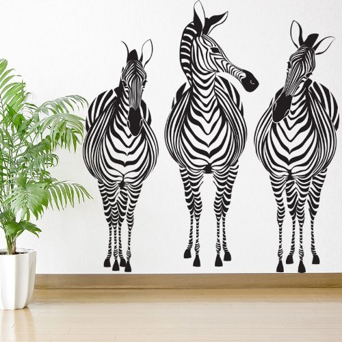 Zebra Trio Wall Sticker Decal - Peel & Stick and Removable