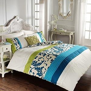 Reversible Floral Pleated Double Duvet Cover Quilt Bedding