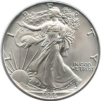 1986 American Silver Eagle Dollar - 1 oz. .999 Pure Silver - Choice Brilliant Uncirculated