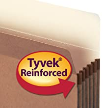 Smead Pockets, Legal Size, Straight Cut, 5-1/4 Inch Expansion, Rollover Tyvek at Top-reinforced sides, Redrope, 50 Per Ctn (74810)