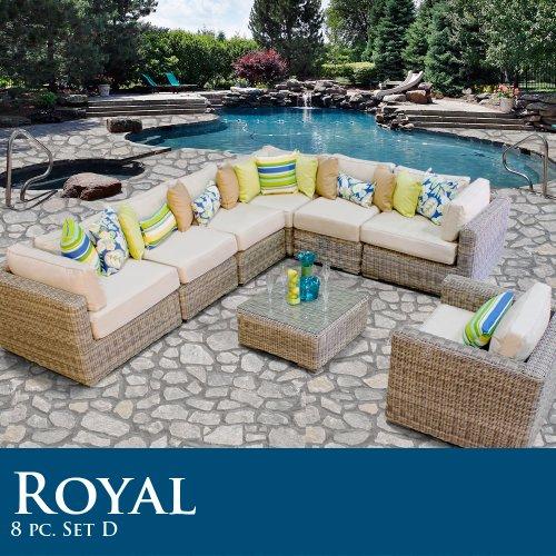 Royal 8 Piece Outdoor Wicker Patio Set 08D
