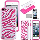 Pandamimi ULAK(TM) Zebra Combo Hybrid Hard Soft High Impact Armor Case Skin Gel for Apple iPod Touch (Generation 5) + Screen Protector (Rose Pink & White)