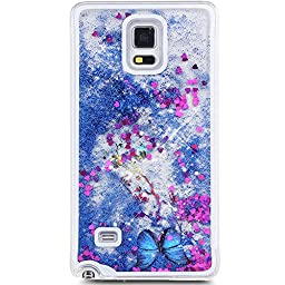 Galaxy Note 4 Case, ikasus Galaxy Note 4 [Liquid Bling] Case,Creative Design Flowing Liquid Floating Luxury Bling Glitter Sparkle Butterfly Hard Case for Samsung Galaxy Note 4(Butterfly:Blue)