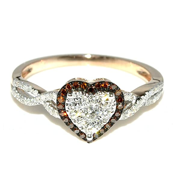 Rings-MidwestJewellery.com Women's 0.4Cttw Heart Shaped Diamond Ring Rose Gold Red And White Diamonds Engagement