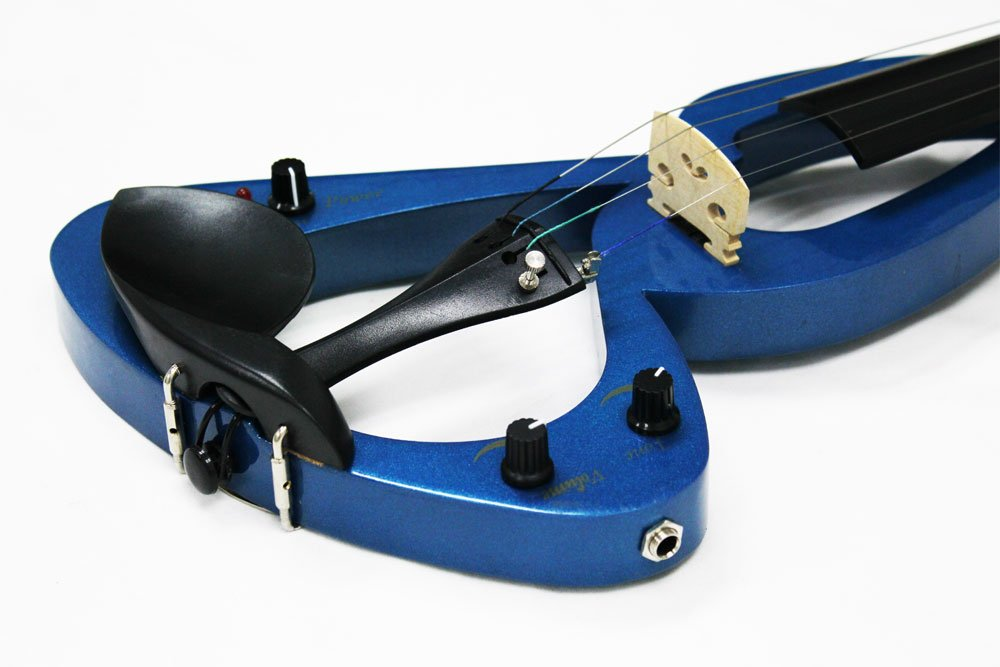 Crescent EV-BU Full Size 4/4 Electric Violin Starter Kit, Blue (Includes CrescentTM Digital E-Tuner)
