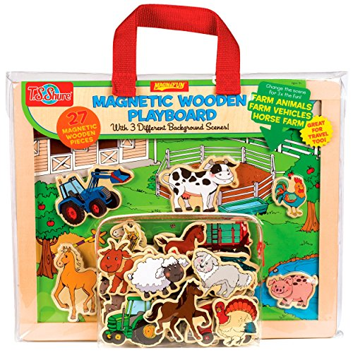 TS-Shure-Farm-Animals-Horses-Vehicles-Wooden-Magnetic-Playboard-Set