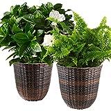 """2 Pennington Wicker Planter Box Basket Pots 13"""" Round Indoor/Outdoor Flowers"""