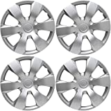 Hubcaps 16 inch Wheel Covers - (Set of 4) Hub Caps for 16in Wheels Rim Cover - Car Accessories Silver Hubcap Best for 16inch Cars Standard Steel Rims - Snap On Auto Tire Replacement Exterior Cap (Color: Silver, Tamaño: Fits 16