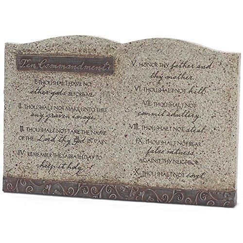 Ten Commandments Resin Stoneware Decorative Tabletop Plaque - Size 9
