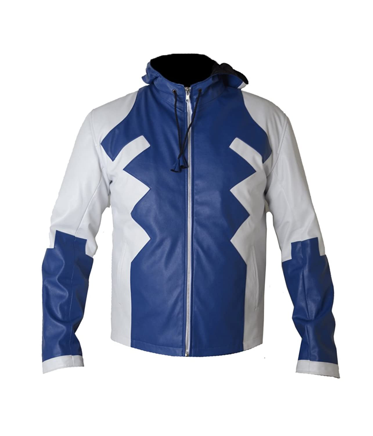 Deadpool V2 Blue And White Real Sheep Leather Jacket with Hoody