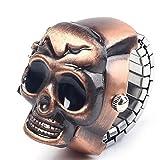 SMTSMT Unisex Retro Vintage Finger Skull Ring Watch Clamshell Watch (Color: gold)