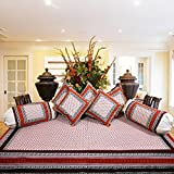 SNEHKRITI 100% Cotton Traditional Jaipuri Booti Print Diwan Set with 5 Cushions Covers and 2 Boster Covers