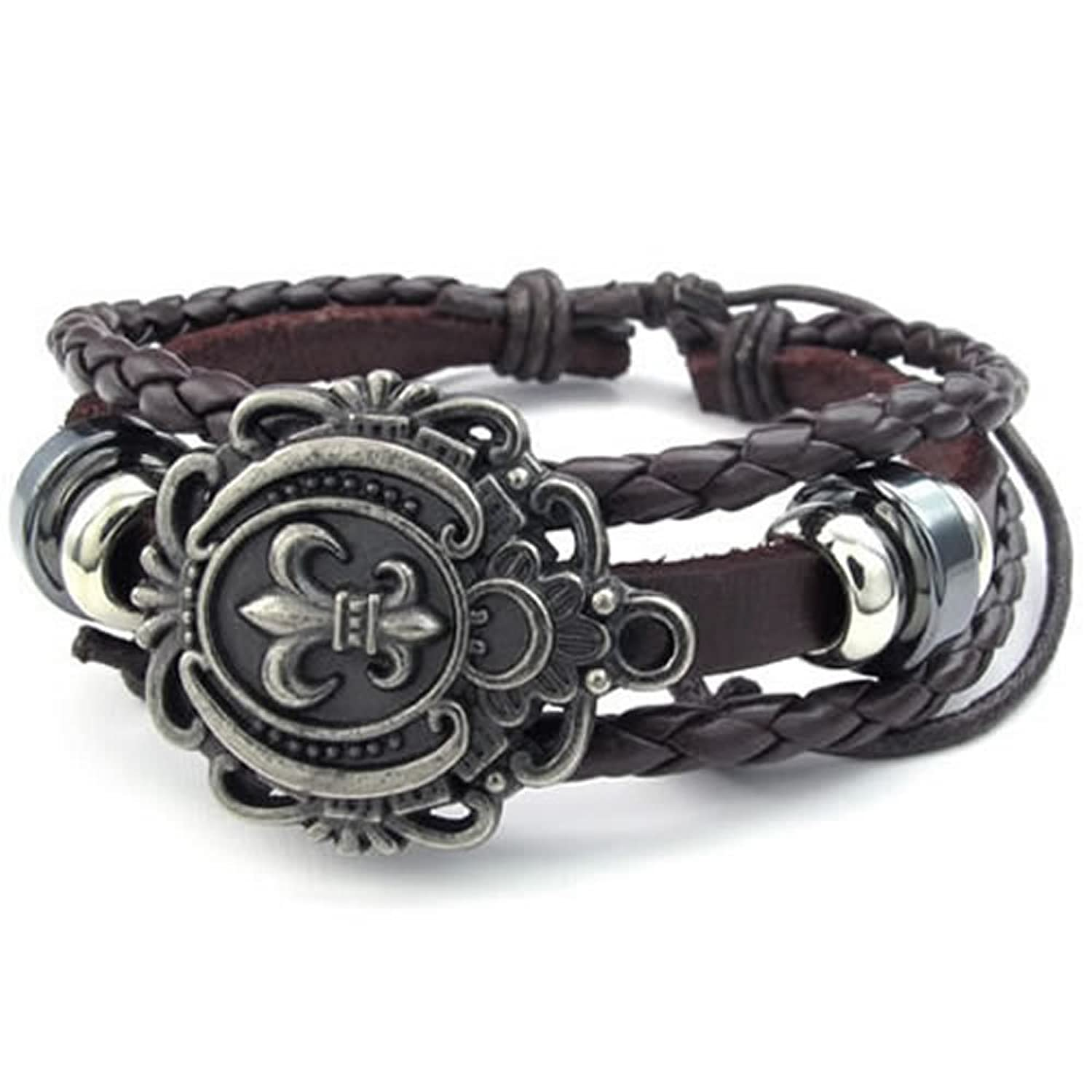 KONOV Jewelry Mens Womens Leather Bracelet, Fleur De Lis Charm Bangle, Fit 7-9 inch, Brown