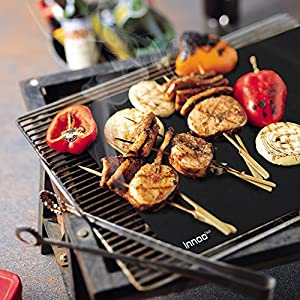 "BBQ Grill Mats Up to 400% Thicker Than Others Set of 3, 16"" x 13"" Works on Gas, Charcoal, Electric Grill and more, 100% Non-stick, Lifetime Guaranteed by Anear"