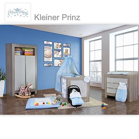 Babyzimmer Felix in akaziengrau 10 tlg. mit 2 turigem Kl. + Kleiner Prinz Blau