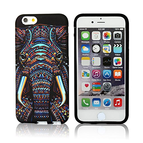 CLOUDS iPhone 6 Plus Case, Night Glow, Cool Cute Elephant HD Vintage Tribe Animal Pattern Design Rubber Gel Flexible Durable Soft Protective Cover, Elephant (Cool Iphone 6 Cases For compare prices)